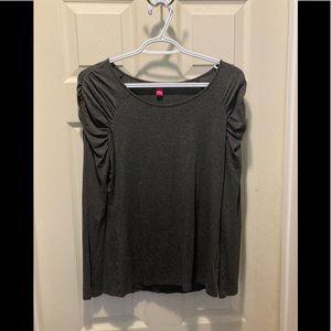 Vince camuto gray long sleeve shirt small